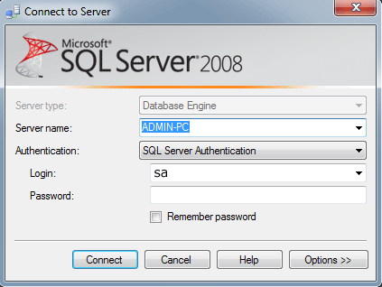 Log in to the SQL Server