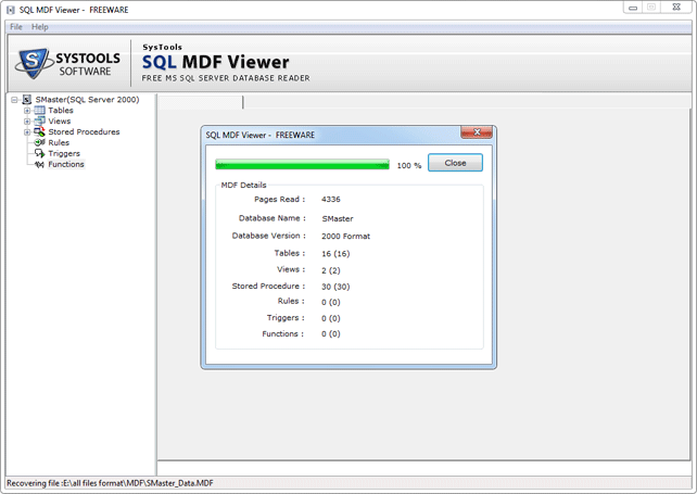 sql mdf viewer tool to open and view sql server database file. Black Bedroom Furniture Sets. Home Design Ideas