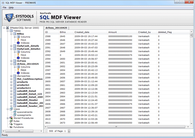 Preview MDF File Data